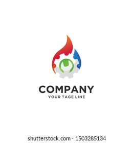 Gas and Oil Logo Design, Symbol, Icon combination water, fire and gears, spanner
