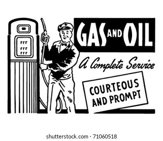 Gas And Oil - Retro Ad Art Banner