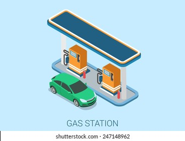 Gas petroleum petrol refill station flat 3d web isometric infographic concept vector. Petroleum collection.