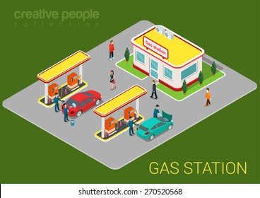 Gas petroleum petrol refill station cars and customers flat 3d web isometric infographic concept vector. Refilling cleaning shopping service. Petroleum creative people collection.