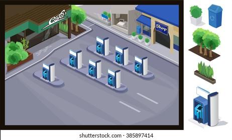 Gas petroleum petrol refill station isometric . illustration vector.