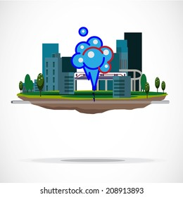 gas pipe line. leak out. bomb. break out - vector illustration