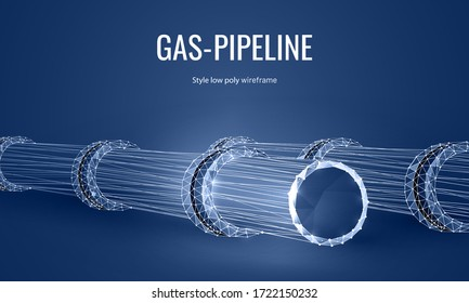 Gas pipeline low poly landing page template. Energy resources transportation pipe with globe valve polygonal illustration. Natural gas extraction and supply industry mesh art website design layout