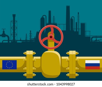 Gas pipeline with valve. Industrial business between Russia and European Union. Stock vector illustration.