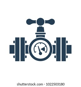 Gas pipeline with a valve and manometer silhouette. Vector illustration flat design. Industry system isolated on white background. Wheel to open closing flow. Pictogram pipe, cartoon style.