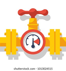 Gas pipeline with a valve and a manometer. Vector illustration flat design. Industry system isolated on white background. Wheel to open closing flow. Yellow pipe, cartoon style.