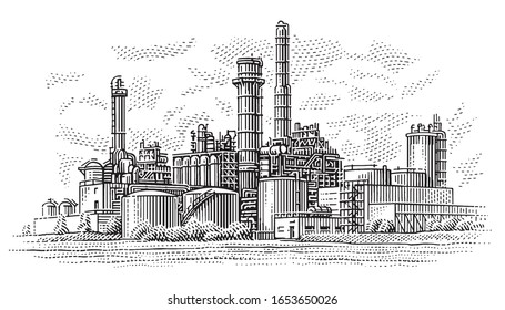 Gas plant industrial view. Refinery plant illustration. Vector, 2 layers.