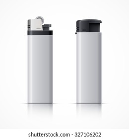 Gas pocket lighters. Realistic vector illustration