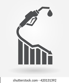 Gas prices going down icon concept. Vector illustration