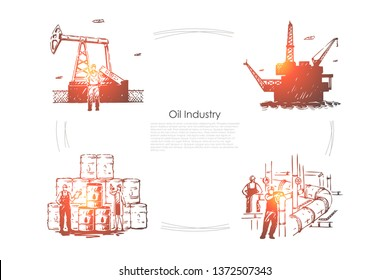Gas production plant, workers at pipeline, industrial equipment, drilling platform, rig, fuel pump banner template. Oil industry, petroleum refinery concept sketch. Hand drawn vector illustration