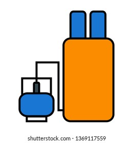 Gas, Propane, lpg, Stove Outline Filled Style Icon Vector - Vector