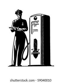 Gas Pump Attendant - Retro Clip Art