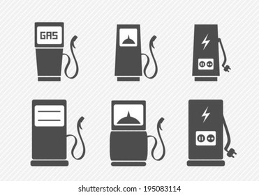 Gas pump and electric vehicle charging station icons set