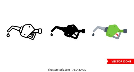 Gas pump icon of 3 types: color, black and white, outline. Isolated vector sign symbol.