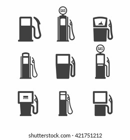 Gas pump icons. Vector illustration.