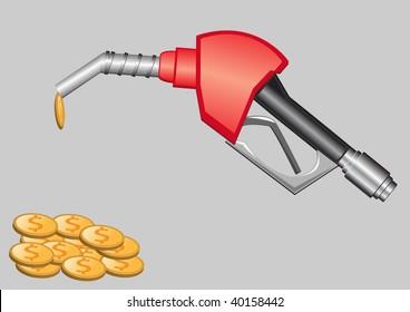 gas pump nozzle and money vector illustration