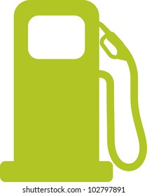 Gas pump sign. Green vector illustration