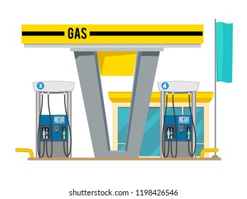 Gas pump station. Exterior of shop gas petroleum oils for cars vector cartoon background. Gasoline fuel, gas for transportation illustration