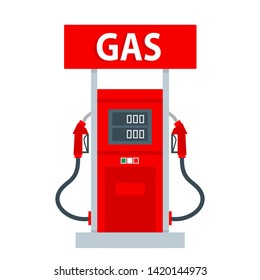 gas pump station vector flat illustration on white background