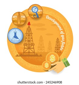 gas rig with icon of process of gas production.Vintage retro style finance icon development of gas field on yellow circle background