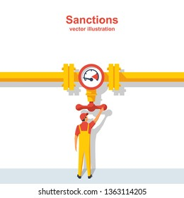 Gas sanctions. The governing body on the pipeline closes the valve. Gas and oil pipeline. Flow control. Vector illustration flat design. Isolated on white background.