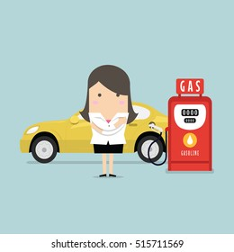 Gas station and businesswoman. Vector