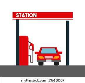 gas station and car icon over white background. colorful design. vector illustration