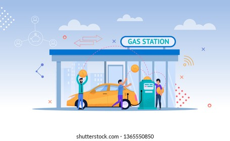 Gas Station Cartoon Illustration. Car Petrolium Refill. Driver Consumer on Street with Cityscape make Payment for Gasoline or Oil. Modern Energy Economy by Fill Up Biofuel or Diesel.