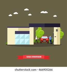 Gas station concept banners. Vector illustration in flat style. Driver fuel gas to his car.