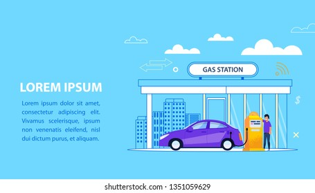 Gas Station Concept. Car Fuel Service Illustration. Consumer near Gasoline Pump Refueling Vehicle. Petroleum Building Construction Exterior on Street Road with Shop. Modern Biofuel Energy.