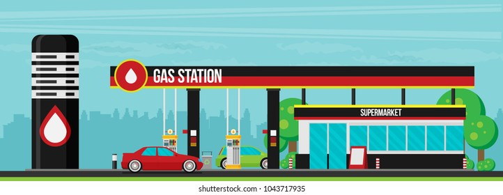 Gas station flat vector illustration