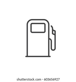 Gas station, fuel dispenser line icon, outline vector sign, linear style pictogram isolated on white. Symbol, logo illustration. Editable stroke. Pixel perfect