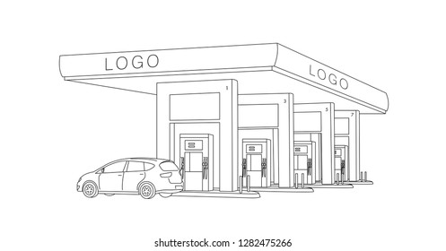 gas station fuel dispensers row illustration with car, linear sketch graphic