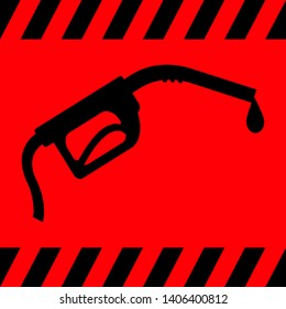 Gas station gun black on red background, vector illustration for design