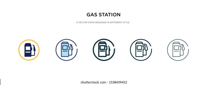 gas station icon in different style vector illustration. two colored and black gas station vector icons designed in filled, outline, line and stroke style can be used for web, mobile, ui
