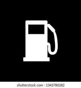 Gas Station Icon On Black Background. Black Flat Style Vector Illustration.