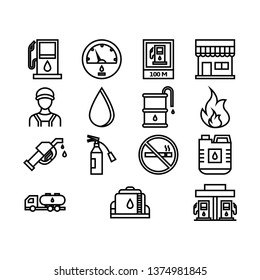 Gas Station icon set with outline style vector illustration