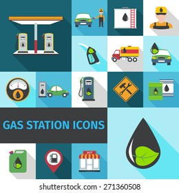 Gas station icons flat set with fuel pump eco petroleum symbol isolated vector illustration
