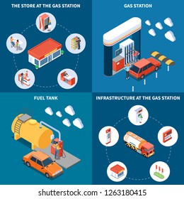 Gas station with infrastructure objects including fuel tank and store isometric design concept isolated vector illustration