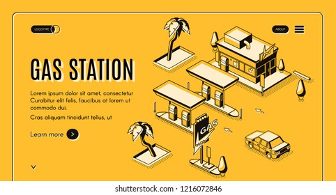 Gas station isometric vector web banner with car arriving at vintage gas filling station black line art illustration on yellow background. Fuel selling, road service or car tours company landing page