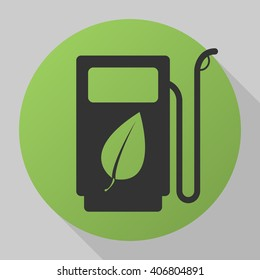 Gas station with leaves icon vector, solid illustration, pictogram isolated on gray