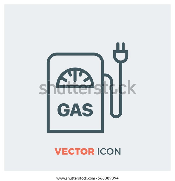 gas station line vector icon