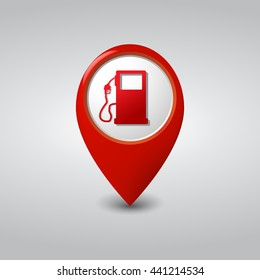 Gas Station Location Red Pointer