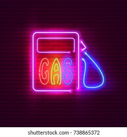 Gas station neon sign on brick wall. Vintage signboard.