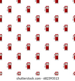 Gas station pattern seamless repeat in cartoon style vector illustration