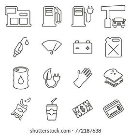 Gas Station or Gas Pump Icons Thin Line Vector Illustration Set