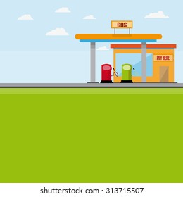 Gas Station With Pumps And Cash Building With Background