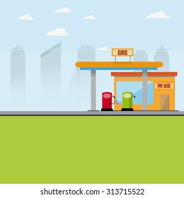 Gas Station With Pumps And Cash Building With City Background
