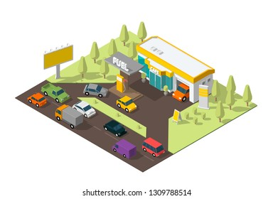 Gas station. Refilling, road shop, repair service. Petroleum filling station and cars. Petrol fuel tank, gasoline. Colorful vector isometric view.