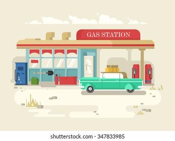 Gas station retro flat design. Petrol pump, service and fuel, vector illustration